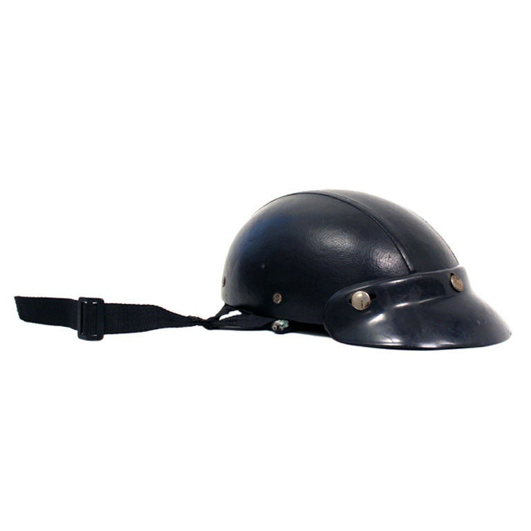 Vintage open-face leather motorcycle helmet from Brazil at ...
