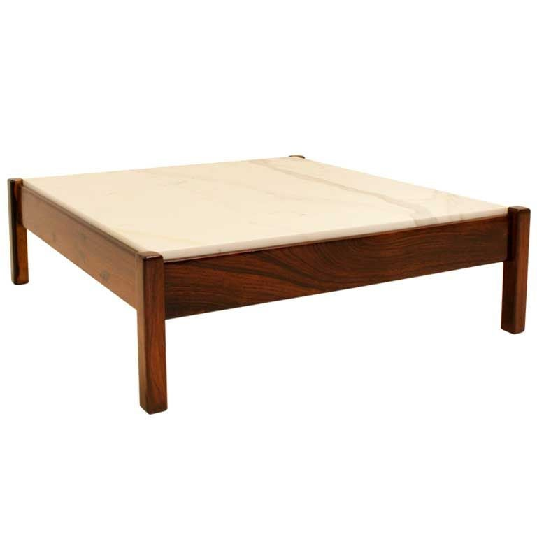 Solid Rosewood Coffee Table With Polished White Marble At 1stdibs