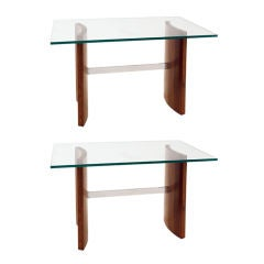 Pair of Glass, Chrome, Staved Teak Side Tables with Curved Legs