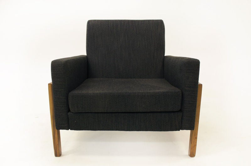 Fabric Pair of Charcoal Lounge Chairs with Baruna Wood Bases For Sale