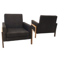 Pair of Charcoal Lounge Chairs with Baruna Wood Bases