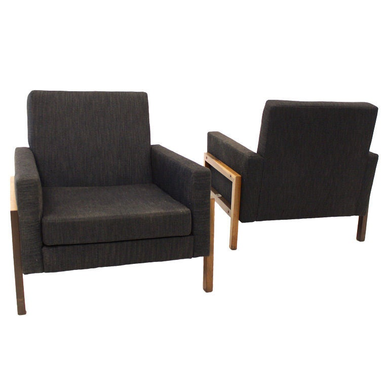 Pair of Charcoal Lounge Chairs with Baruna Wood Bases For Sale