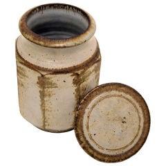 Vintage ceramic glassed jar with lid by Ferriera