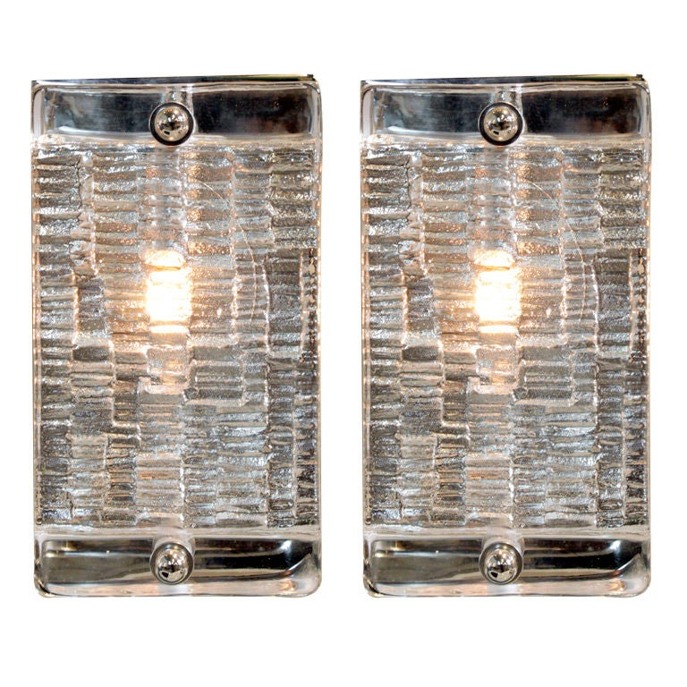 Italian Glass Wall Sconces : Pair of Italian glass and nickel wall sconces at 1stdibs