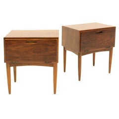 Pair of Rich Mahogany Side Tables with Tapered Legs