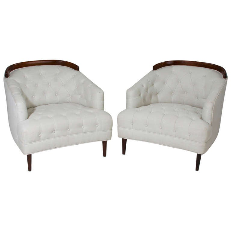Mid-Century Classic Tufted Cream Linen and Sculptural Mahogany Armchairs
