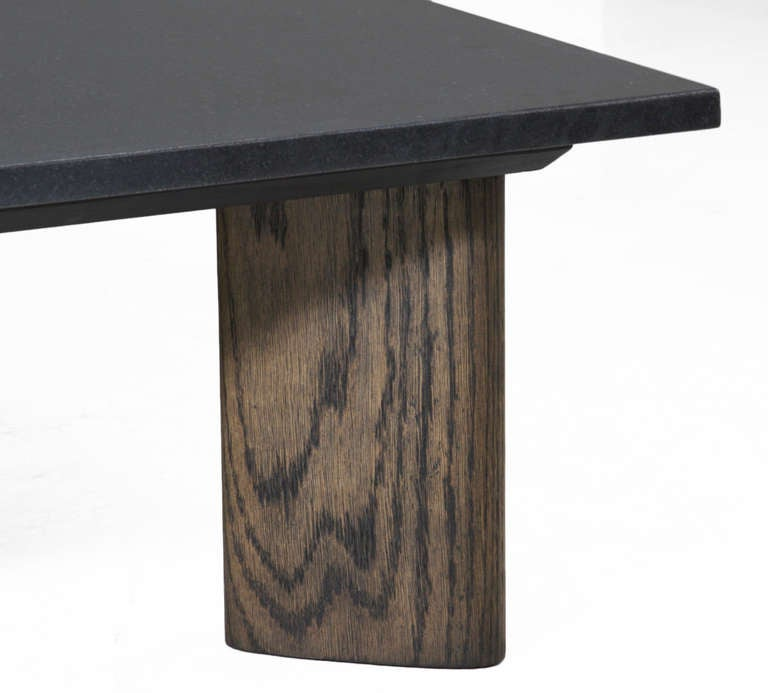 Solid Oak And Honed Black Granite Coffee Table By Thomas