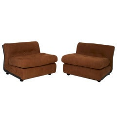 Pair of Tufted Suede Ebonized Fiberglass Lounge Chairs Attributed Metropolitan
