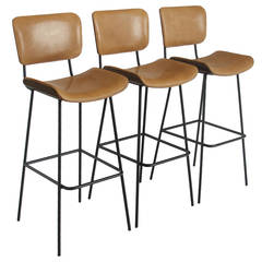 Set of Three Steel Cojo Stools by Thomas Hayes Studio