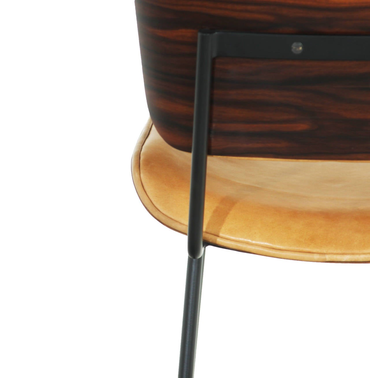 Leather The Steel Cojo Stool by Thomas Hayes Studio For Sale