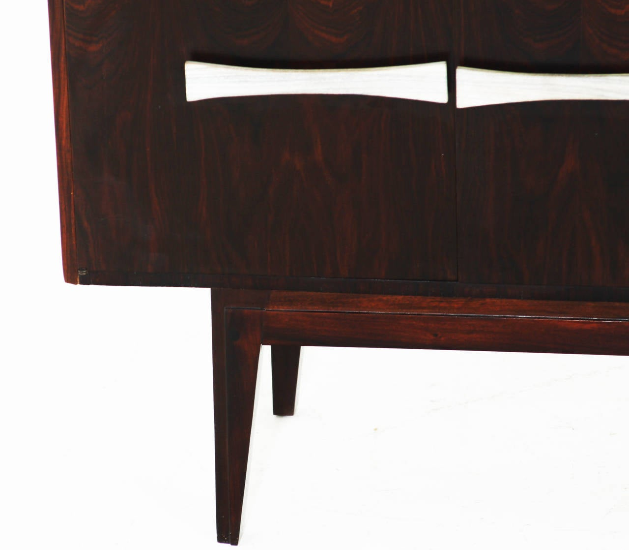 Narrow Credenza: Narrow Rosewood Credenza With Blanched Oil Handles For
