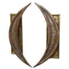 Paul Evans Style Vintage Pair of Brutalist Braised Brass Crescent Door Handles