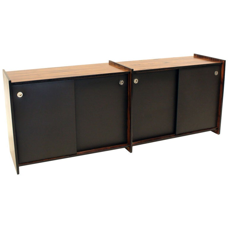 Rosewood Cabinet with Sliding Leather Doors Attributed to Celina Moveis