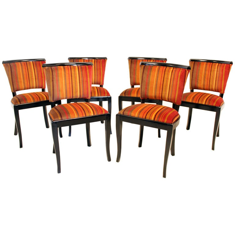 Six Regency Sculptural Ebonized Wood Curved Back Dining Chairs In Striped Moh