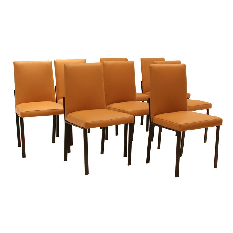 custom thomas hayes studio leather dining chairs in the
