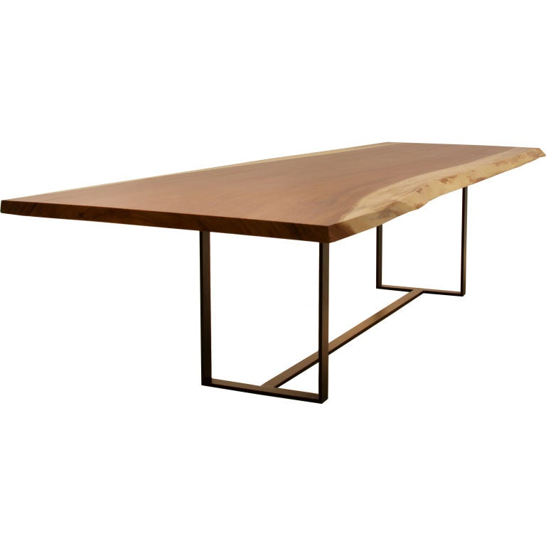 A solid Caro Caro slab dining table with bronze flat bar  : XXX888513170761481 from www.1stdibs.com size 768 x 768 jpeg 20kB