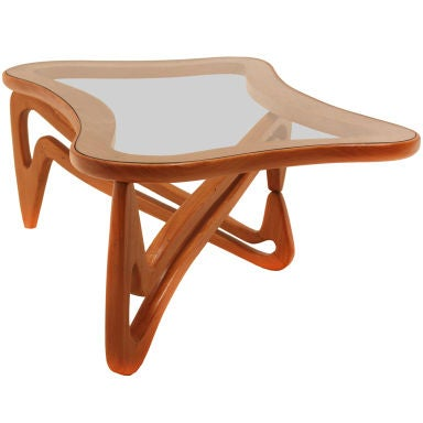 Curved Solid Caviuna And Glass Coffee Table Scapinelli Attribution At 1stdibs
