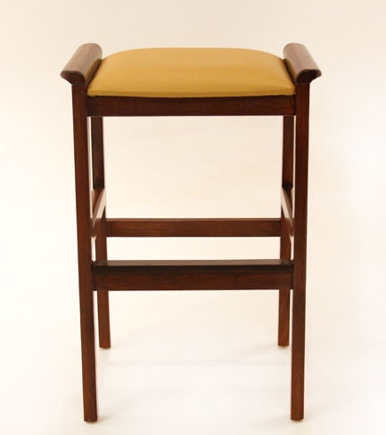 Set Of Three Solid Teak Rosewood And Leather Bar Stools At