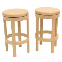 Pair of Solid Bleached Oak Round Swivel Seat Stools