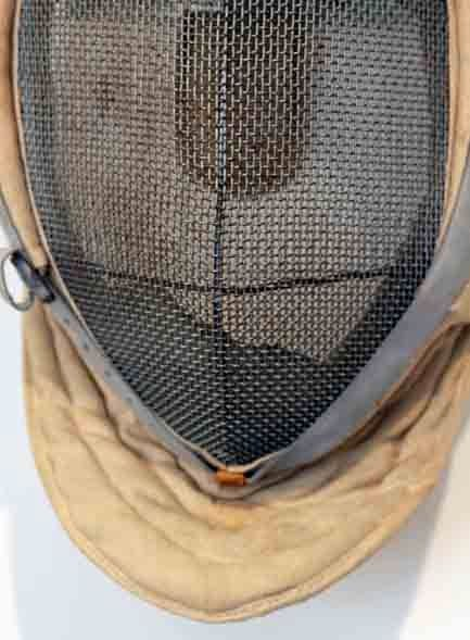 Antique Fencing Mask with Leather Detail 6