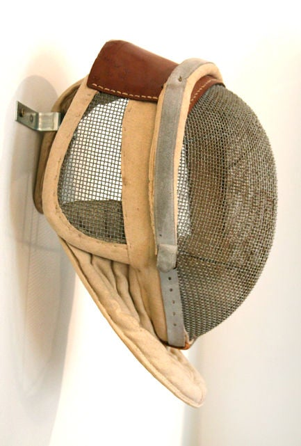 Antique Fencing Mask with Leather Detail 2