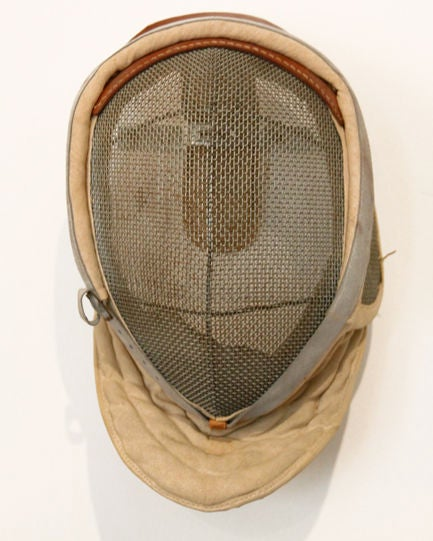 Antique Fencing Mask with Leather Detail 3