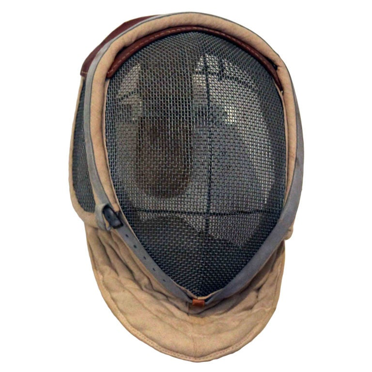 Antique Fencing Mask with Leather Detail 1