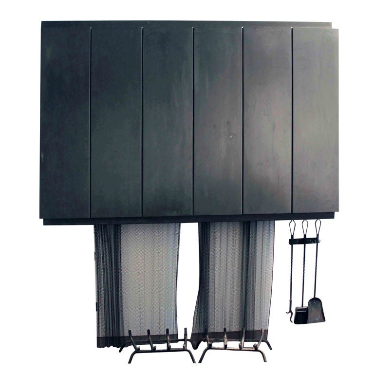 Architectural Blackened Steel Fire Hood 1950s For Sale At