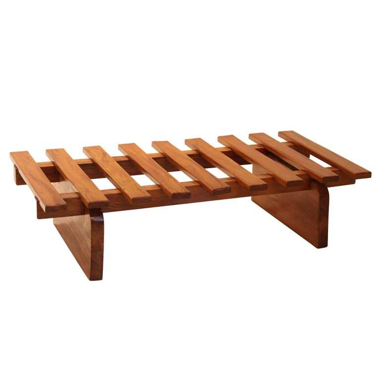 Solid Peroba Slatted Bench from Brazil For Sale