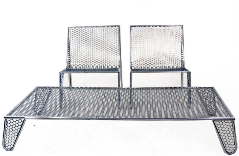 """Set of Four """"Inox"""" Chairs by Zanini de Zanine For Sale 3"""