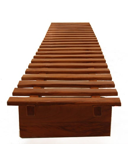Brazilian Huge Solid Peroba Slatted Bench from Brazil For Sale