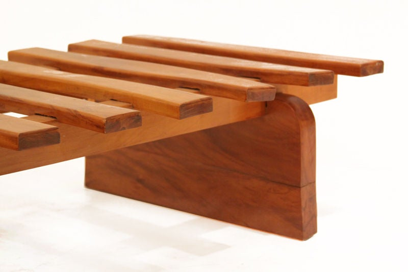 Huge Solid Peroba Slatted Bench from Brazil For Sale 1