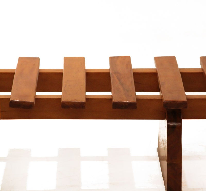 Huge Solid Peroba Slatted Bench from Brazil 7