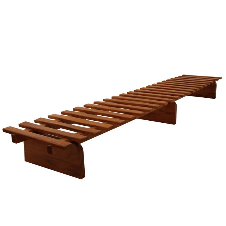 Huge Solid Peroba Slatted Bench from Brazil 1