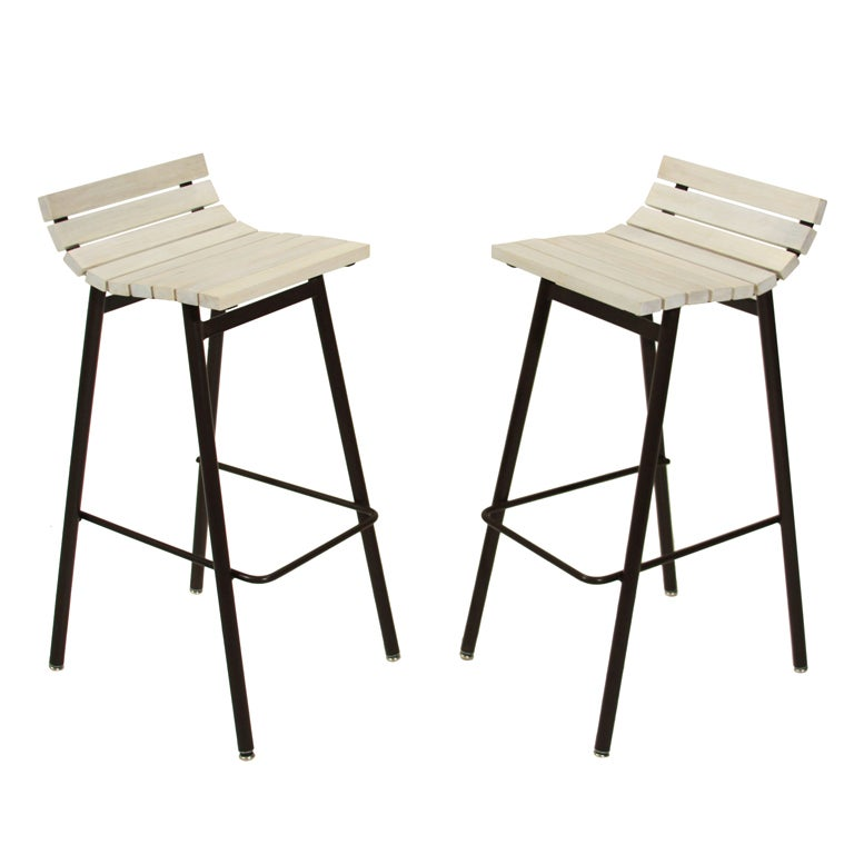 Set Of 2 Slat Bar Stools In Bleached Walnut By Thomas