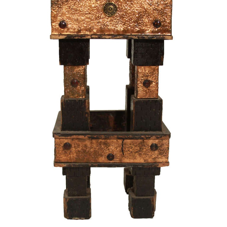 Rustic Modern Folk Art Hand Hammered And Carved Wood Stool