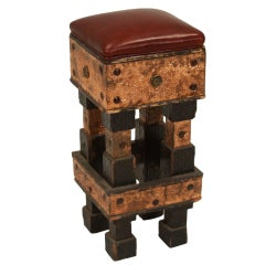 Rustic Modern Folk Art Hand Hammered & Carved Wood Stool with Leather Seat