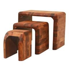 Set Of 3 California Design Wood Nesting Side Tables