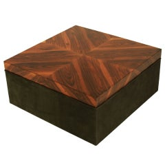 Square Rosewood and Green Suede Coffee Table