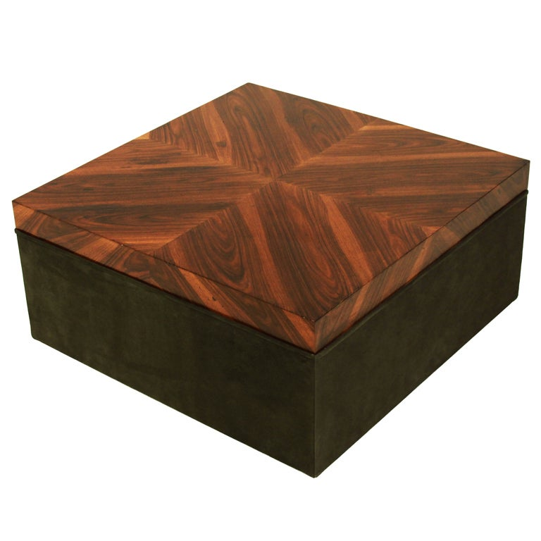 Square Rosewood And Green Suede Coffee Table For Sale At 1stdibs
