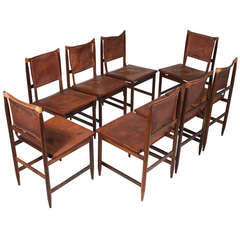 Set of Eight Braziian Leather and Rosewood Dining Chairs