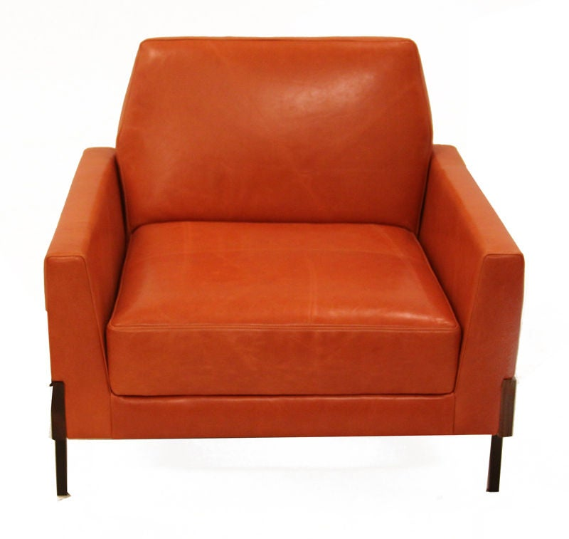 Pair Of Burnt Orange Leather Arm Chairs By Jorge Zalszupin At 1stdibs