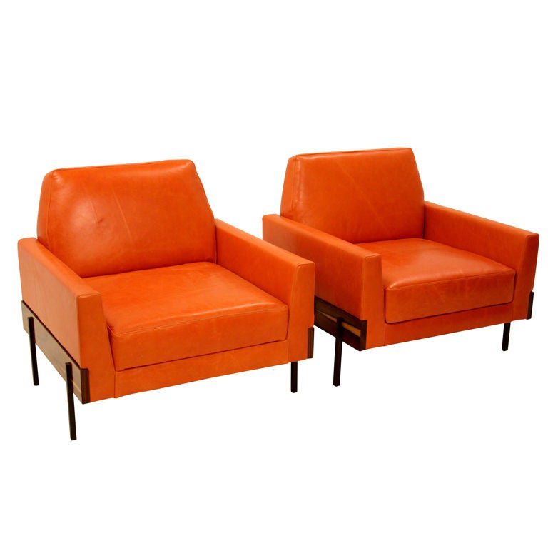 Pair Of Burnt Orange Leather Arm Chairs By Jorge Zalszupin