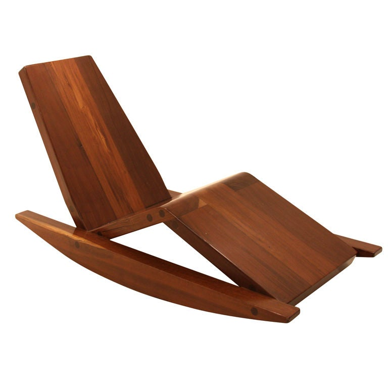 Solid salvaged Ipe wood rocking chair by Zanini de Zanine at 1stdibs