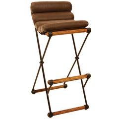 Single oak and iron bar stool by Cleo Baldon