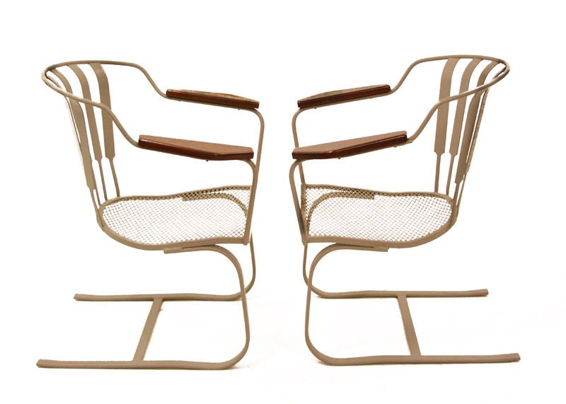 Pair Of Salterini Spring Lounge Chairs With Side Table image 3