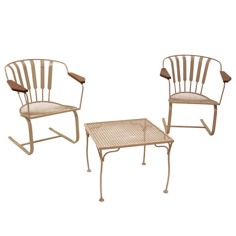 Pair Of Salterini Spring Lounge Chairs With Side Table