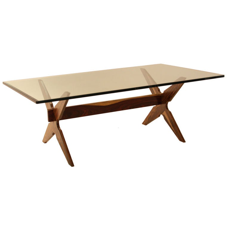 Beautiful cocobolo wood coffee table with glass top at 1stdibs for Beautiful coffee tables