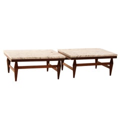 Set of two low Caviuna side tables with white marble tops