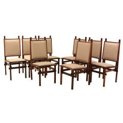Set of 8 Rosewood dining chairs with architectual frames
